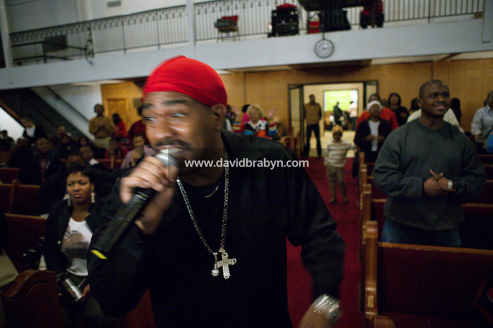 3 February 2005 - New York City, NY - Hip-hop pioneer Kurtis Blow raps during mass at the Greater Hood Memorial AME Zion Church, home of the Hip-Hop Church, in Harlem, New York, USA, 3 February 2005. Photo Credit: David Brabyn.