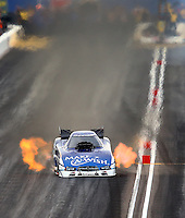 Feb 22, 2014; Chandler, AZ, USA; NHRA funny car driver Tommy Johnson Jr during qualifying for the Carquest Auto Parts Nationals at Wild Horse Pass Motorsports Park. Mandatory Credit: Mark J. Rebilas-USA TODAY Sports