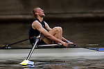 A rower from Dowling reacts after crossing the finish line in the Men's Varsity Pairs Final during the 68th Dad Vail Regatta on the Schuylkill River in Philadelphia, Pennsylvania on May 13, 2006........