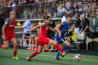 Seattle, WA - Saturday, August 26th, 2017: Ashleigh Sykes and Kiersten Dallstream during a regular season National Women's Soccer League (NWSL) match between the Seattle Reign FC and the Portland Thorns FC at Memorial Stadium.