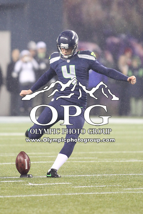 Dec 23, 2012:  Seattle Seahawk's Steven Hauschka against the San Francisco during Sunday nights game of the week at Century Link Stadium in Seattle WA.  Seattle defeated San Francisco 42-13.