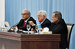 Palestinian President Mahmoud Abbas speeks during a meeting with foreign media, in the West Bank city of Ramallah, June 23, 2019. Photo by Thaer Ganaim