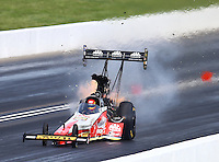 May 22, 2016; Topeka, KS, USA; NHRA top fuel driver Doug Kalitta explodes an engine during the Kansas Nationals at Heartland Park Topeka. Mandatory Credit: Mark J. Rebilas-USA TODAY Sports