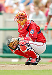 11 June 2006: Robert Fick, catcher for the Washington Nationals, looks back to the dugout during a game against the Philadelphia Phillies at RFK Stadium, in Washington, DC. The Nationals shut out the visiting Phillies 6-0 to take the series three games to one...Mandatory Photo Credit: Ed Wolfstein Photo..