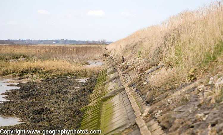 Reinforced flood defence bank on the River Deben, Sutton, England