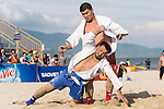 BOLDPUREV Unurjargal of Mongolia fights against YALKAPOV Nurali of Turkmenistan during the Sambo Men's +90kg on Day Nine of the 5th Asian Beach Games 2016 at Bien Dong Park on 02 October 2016, in Danang, Vietnam. Photo by Marcio Machado / Power Sport Images