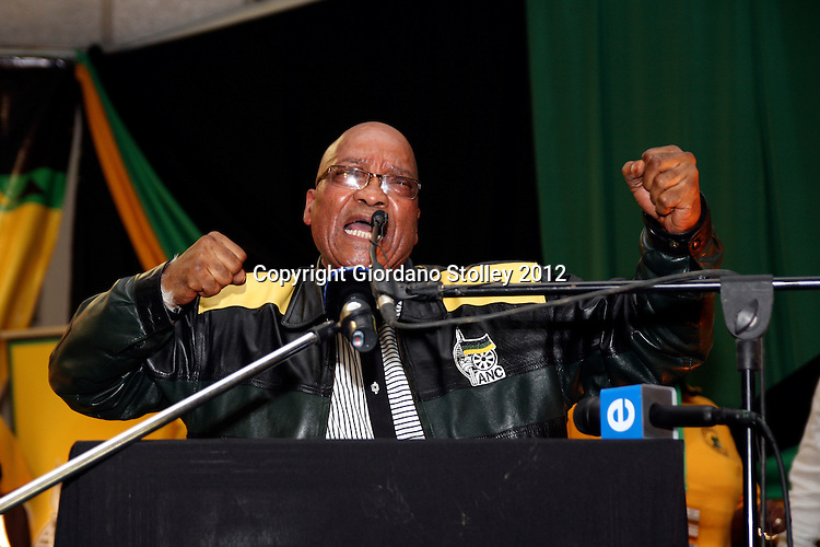 NEWCASTLE - 11 May 2012 - President Jacob Zuma sings his favourite struggle song Awuleth' Umshini Wami (bring me my machine gun) at the African National Congress' KwaZulu-Natal provincial conference. .Picture: Giordano Stolley/Allied Picture Press/APP