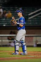 Oklahoma City Dodgers catcher Will Smith (10) signals two outs during a Pacific Coast League game against the New Orleans Baby Cakes on May 6, 2019 at Shrine on Airline in New Orleans, Louisiana.  New Orleans defeated Oklahoma City 4-0.  (Mike Janes/Four Seam Images)