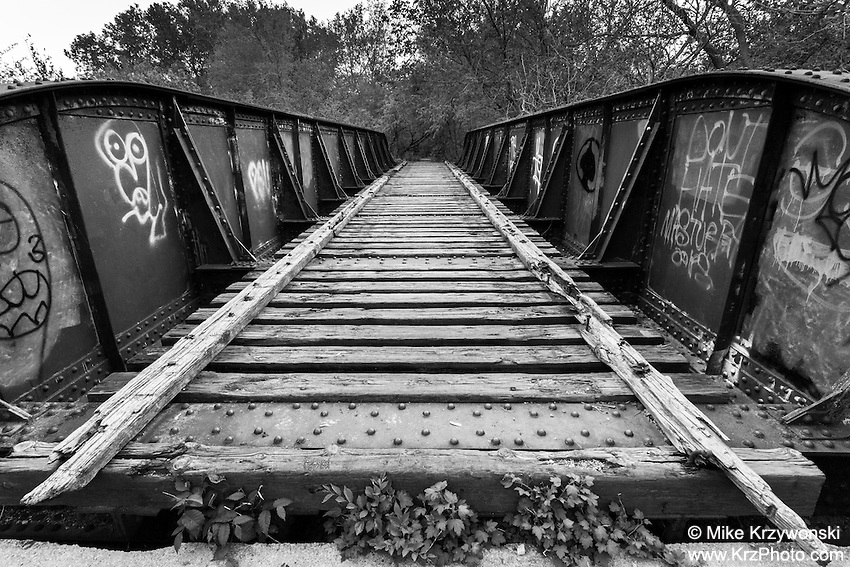 Old abandoned railroad bridge in Lincoln, NE