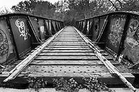 Old abandoned railroad bridge in Lincoln, NE