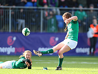 9nd February 2020; Energia Park, Dublin, Leinster, Ireland; International Womens Rugby, Six Nations, Ireland versus Wales; Claire Keohane (Ireland) attempts to convert the try