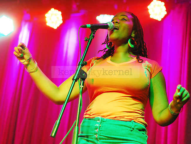 A backup singer for the Wailers performs for the crowd at Buster's Backroom & Billiards on September 22, 2010.
