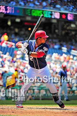 4 July 2010: Washington Nationals infielder Alberto Gonzalez at bat against the New York Mets at Nationals Park in Washington, DC. The Mets defeated the Nationals 9-5, splitting their 4-game series. Mandatory Credit: Ed Wolfstein Photo