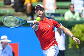 11th January 2018,  Kooyong Lawn Tennis Club, Kooyong, Melbourne, Australia; Priceline Pharmacy Kooyong Classic tennis tournament; Matt Ebden of Australia returns a serve from Richard Gasquet of France