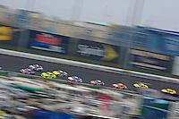 Denny Hamlin, (#11)  leads a pack.
