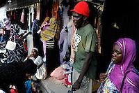 TANZANIA Zanzibar, Stone town, second hand textile market / TANSANIA Insel Sansibar, Stonetown, Markt fuer Kleidung und gebrauchte Textilien