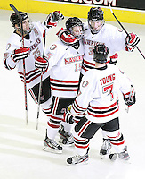 Nebraska-Omaha celebrates Andrej Sustr's (3) goal during the second period. Colorado College defeated Nebraska-Omaha 5-2 Saturday night at CenturyLink Center in Omaha. (Photo by Michelle Bishop) .