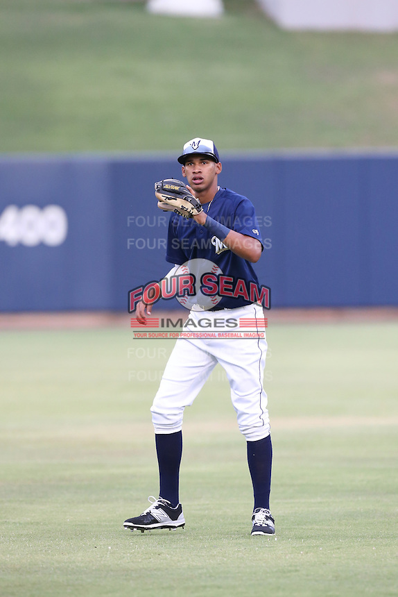 Jonathan Oquendo (3) of the AZL Brewers warms up before a game against the AZL Athletics at Maryvale Baseball Park on June 30, 2015 in Phoenix, Arizona. Brewers defeated Athletics, 4-2. (Larry Goren/Four Seam Images)