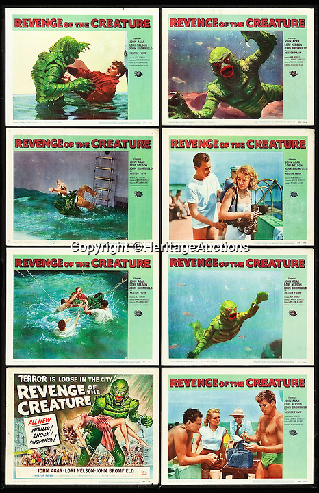 BNPS.co.uk (01202 558833)<br /> Pic: HeritageAuctions/BNPS<br /> <br /> Revenge of the Creature lobby card set.<br /> <br /> A life-size film prop of the famous 1950s monster the Creature from the Black Lagoon that guarded its owner's office for decades is expected to fetch £24,000 at auction.<br /> <br /> The instantly-recognizable swamp beast frightened moviegoers in the 1950s, when the horror B movie was at its height.<br /> <br /> This Gill-man figure was made for the 1955 horror film Revenge of the Creature, the sequel to the 1954 cult classic Creature From the Black Lagoon.<br /> <br /> The unusual memorabilia was owned for about 40 years by Earl Jernigan, who worked as a grip - lighting and rigging technician - on the film when it was shot in North Central Florida and kept the monster after production finished.<br /> <br /> The prop will be sold by Heritage Auctions in Dallas, Texas on February 20.