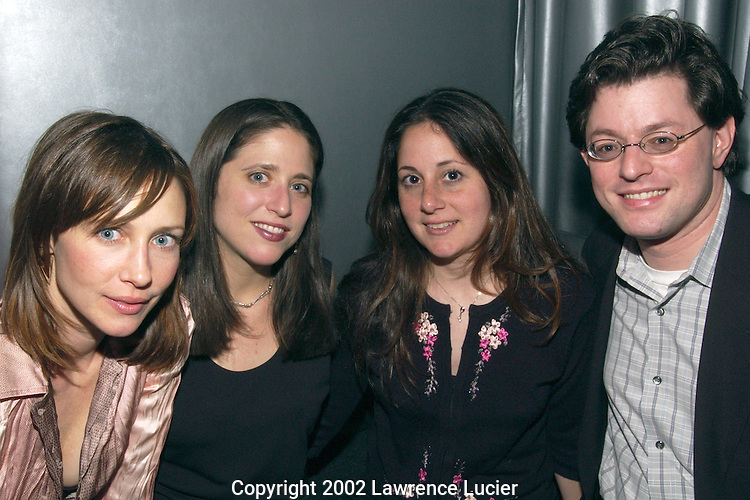 Actress Vera Farmiga, Innovative agent Meredith Wecht,  Innovative agent Lisa Lieberman, and manager Jon Rubenstein are seen at the launch party for the GenArt Film Festival April 24, 2002 in New York City.  The festival features independent films by emerging directors..