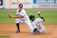 Shortstop Robert Stevens (30) of the Bluefield Orioles gets ready to put the tag on Devon Torrence (3) of the Greeneville Astros at Bowen Field in Bluefield, WV, Sunday July 6, 2008. (Photo by Brian Westerholt / Four Seam Images)