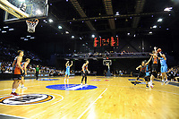 Jordan Ngatai (Breakers) attempts a late three-pointer during the Australian National Basketball League match between Skycity Breakers and Illawarra Hawks at TSB Bank Arena in Wellington, New Zealand on Thursday, 14 February 2019. Photo: Dave Lintott / lintottphoto.co.nz