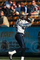 Aug 3, 2007; Hamilton, ON, CAN; Winnipeg Blue Bombers play the Hamilton Tiger-Cats at Ivor Wynne Stadium. The Tiger-Cats defeated the Blue Bombers 43-22. Mandatory Credit: Ron Scheffler. Pictured here is Winnipeg Blue Bombers slotback (85) Milt Stegall.