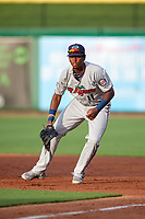 Fort Myers Miracle first baseman Lewin Diaz (11) during a game against the Clearwater Threshers on May 31, 2018 at Spectrum Field in Clearwater, Florida.  Clearwater defeated Fort Myers 5-1.  (Mike Janes/Four Seam Images)