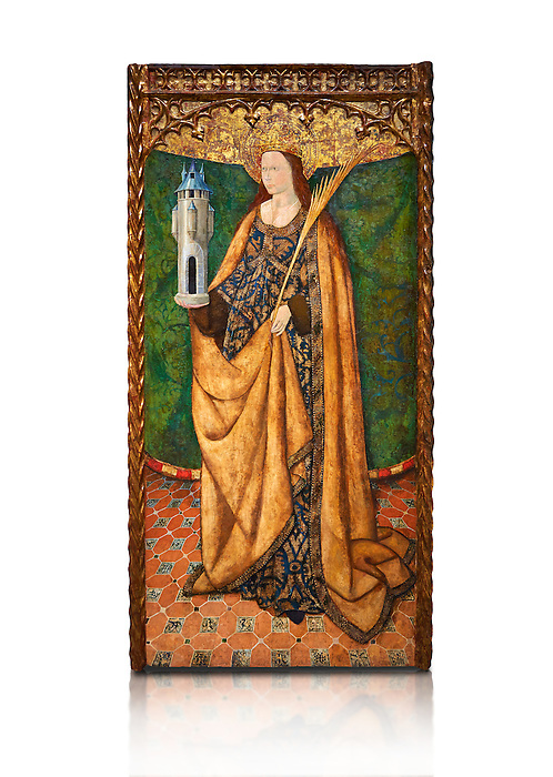Gothic Aaltarpiece of Saint Barbara, 3rd quarter of the 15th century, tempera and gold leaf on for wood.  National Museum of Catalan Art, Barcelona, Spain, inv no: MNAC   114746-7. Against a white background.