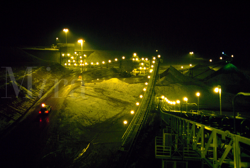 Night view of conveyor system at gold mine. Eureka, Nevada