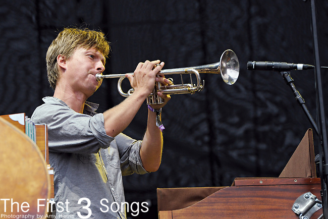 Dave Jorgenson of Blind Pilot performs during Day 1 of the Voodoo Experience at City Park in New Orleans, Louisiana on October 28, 2011.