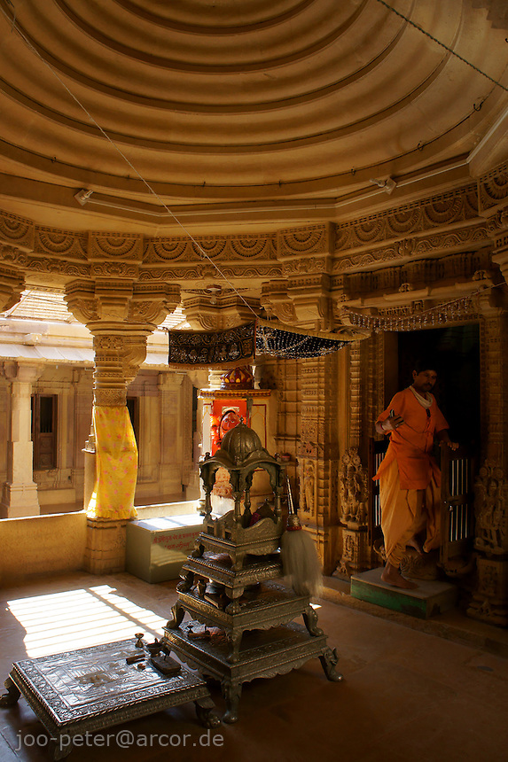 central room  in Chantraprabhu Jain temple, Fort Jaisalmer, Rajastan, India