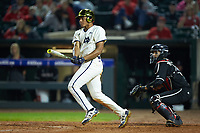 Eric Feliz (19) of the Notre Dame Fighting Irish follows through on his swing against the Louisville Cardinals in Game Eight of the 2017 ACC Baseball Championship at Louisville Slugger Field on May 25, 2017 in Louisville, Kentucky. The Cardinals defeated the Fighting Irish 10-3. (Brian Westerholt/Four Seam Images)