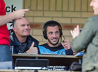 Former Wycombe player Keith Scott & scorer of two goals Michael Harriman of Wycombe pose for a photo before a radio interview during the Sky Bet League 2 match between Wycombe Wanderers and Hartlepool United at Adams Park, High Wycombe, England on 5 September 2015. Photo by Andy Rowland.