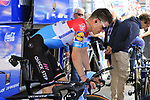Luxembourg Champion Bob Jungels (LUX) Deceuninck-Quick Step warms up on the turbo before Stage 1 of the 2019 Giro d'Italia, an individual time trial running 8km from Bologna to the Sanctuary of San Luca, Bologna, Italy. 11th May 2019.<br /> Picture: Eoin Clarke | Cyclefile<br /> <br /> All photos usage must carry mandatory copyright credit (© Cyclefile | Eoin Clarke)