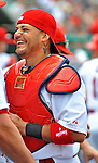 8 March 2012: St. Louis Cardinals' catcher Yadier Molina stands in the dugout prior to a Spring Training game against the Boston Red Sox at Roger Dean Stadium in Jupiter, Florida. The Cardinals defeated the Red Sox 9-3 in Grapefruit League action. Mandatory Credit: Ed Wolfstein Photo