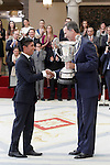 King Felipe VI of Spain delivers Trophy Community Iberoamericana, the Ibero-American athlete who has excelled most during the year in international sports activities, Nairo Quintana. November 17, 2015. (ALTERPHOTOS/Acero)
