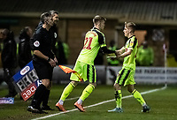 Bolton Wanderers' Harry Brockbank is brought on to replace Ronan Darcy (right) <br /> <br /> Photographer Andrew Kearns/CameraSport<br /> <br /> The EFL Sky Bet League One - Lincoln City v Bolton Wanderers - Tuesday 14th January 2020  - LNER Stadium - Lincoln<br /> <br /> World Copyright © 2020 CameraSport. All rights reserved. 43 Linden Ave. Countesthorpe. Leicester. England. LE8 5PG - Tel: +44 (0) 116 277 4147 - admin@camerasport.com - www.camerasport.com