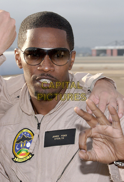 "JAMIE FOXX.World Premiere of Columbia Pictures ""Stealth"".July 17th, 2005.headshot portrait sunglasses shades goatee mustache facial hair hand gesture.www.capitalpictures.com.sales@capitalpictures.com.© Capital Pictures."