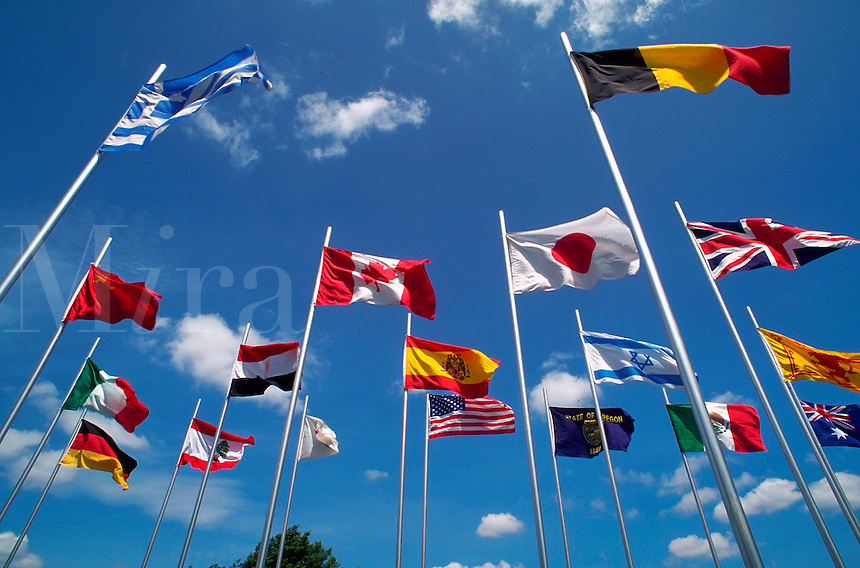 International flags on display; waving in the breeze.