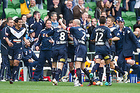 MELBOURNE, AUSTRALIA - SEPTEMBER 12, 2010: Grant Brebner from the Victory celebrates his goal in Round 6 of the 2010 A-League between the Melbourne Victory and Brisbane Roar at AAMI Park on September 12, 2010 in Melbourne, Australia. (Photo by Sydney Low / Asterisk Images)