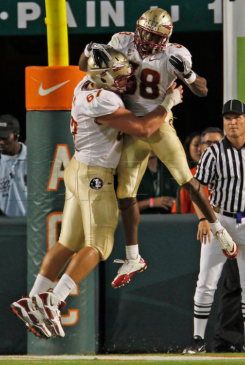 The Seminoes Jermaine Thomas and Andrew Datko celebrates in the endzone after a second quarter touchdown during the University of Miami vs Florida State University on Saturday October 9, 2010.