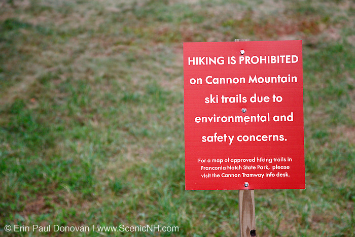 """Hiking is Prohibited"" on ski trails at Cannon Mountain in the Franconia Notch State Park of the New Hampshire White Mountains."