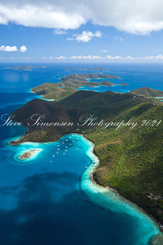 Aerial view of Leinster Bay and Waterlemon Cay.Virgin Islands National Park.St. John.U.S. Virgin Islands