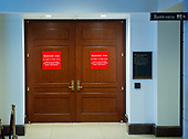 Doors leading to the restricted area where Trump senior advisor Jared Kushner and many other witnesses have given closed-door testimony before the US House Select Committee on Intelligence in the United States Capitol in Washington, DC on Tuesday, July 25, 2017.<br /> Credit: Ron Sachs / CNP<br /> (RESTRICTION: NO New York or New Jersey Newspapers or newspapers within a 75 mile radius of New York City)