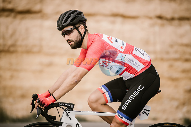 Red Jersey Nacer Bouhanni (FRA) Team Arkea-Samsic during Stage 3 of the Saudi Tour 2020 running 119km from King Saud University to Al Bujairi, Saudi Arabia. 6th February 2020. <br /> Picture: ASO/Pauline Ballet | Cyclefile<br /> All photos usage must carry mandatory copyright credit (© Cyclefile | ASO/Pauline Ballet)