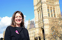 Picture by SWpix.com - 07/03/2018 - Cycling - 2018 OVO Energy Women's Tour Launch - Westminster, London, England - Claire Pulford (Breast Cancer Care) pictured at College Green outside the Houses of Parliament to launch the 2018 OVO Energy Women's Tour.