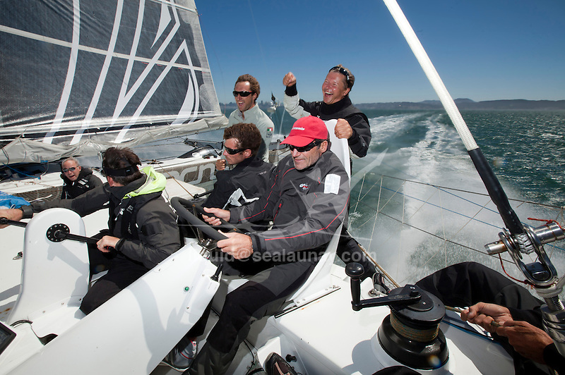 Onboard L'Hydroptère DCNS, Alain Thébault and his crew sailing (with Peter Stoneberg, Warren Fitzgerald, Paul Campbell-James, Jacques Vincent and Paul Cayard) in San Francisco, Calirfonia, USA.