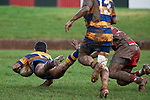Vernon Comley dives over in the corner to score Patumahoes first try. Counties Manukau Premier Club Rugby game between Patumahoe & Karaka played at Patumahoe on Saturday June 13th 2009. Patumahoe lead 8 - 0 at halftime and went on to win 20 - 0.