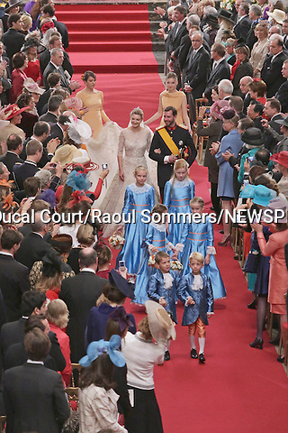 """Wedding of HRH the Hereditary Grand Duke Guillaume and Countess Stéphanie de Lannoy.at the Catherdral of Our Lady of Luxembourg, Luxembourg_20-10-2012.Mandatory credit photo: ©Grand-Ducal Court/Raoul Sommers/NEWSPIX INTERNATIONAL..(Failure to credit will incur a surcharge of 100% of reproduction fees)..                **ALL FEES PAYABLE TO: """"NEWSPIX INTERNATIONAL""""**..IMMEDIATE CONFIRMATION OF USAGE REQUIRED:.Newspix International, 31 Chinnery Hill, Bishop's Stortford, ENGLAND CM23 3PS.Tel:+441279 324672  ; Fax: +441279656877.Mobile:  07775681153.e-mail: info@newspixinternational.co.uk"""